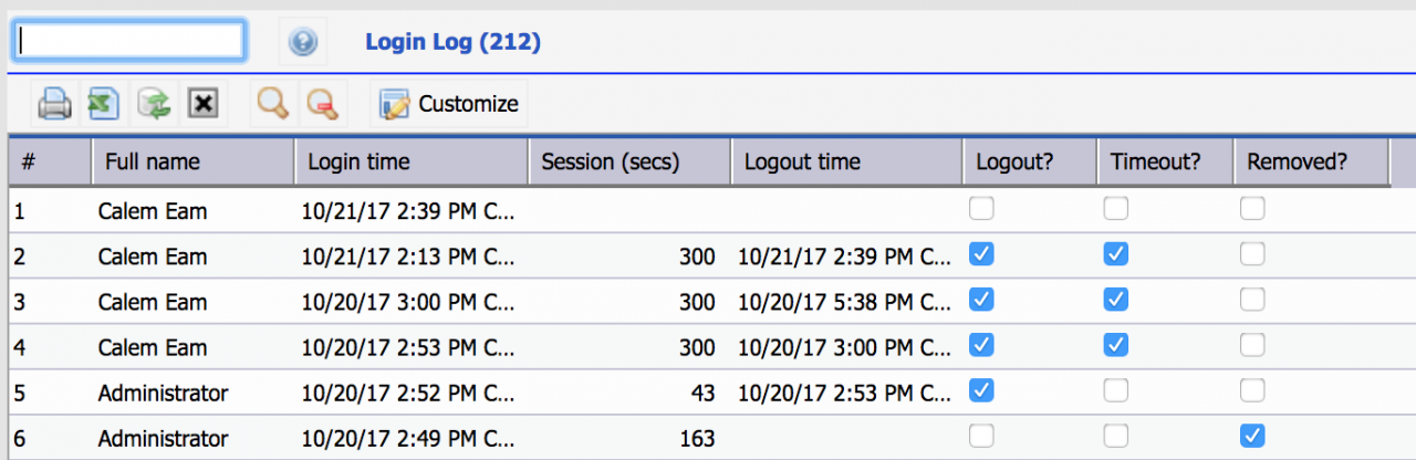 Session Logs and Site Monitoring