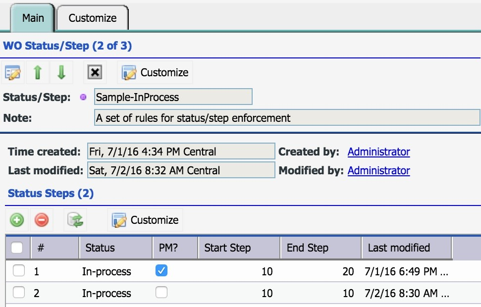 Work Order Step Enforcement by Status