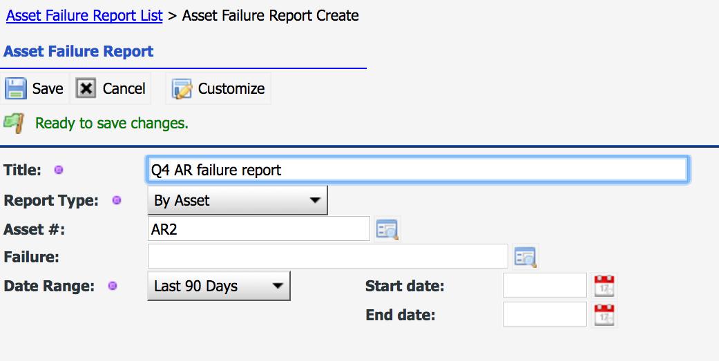 Asset Failure Report